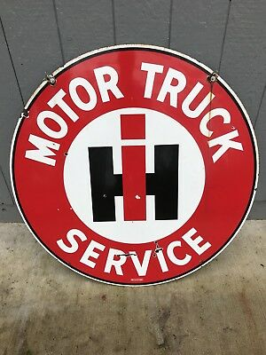 """Old 42"""" International harvester truck double Sided Porcelain Sign very nice"""
