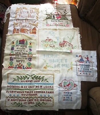 Lot of 7 Antique Vintage Samplers Cottage Home Prayer To Frame or Work