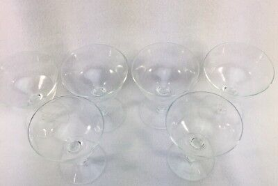 Etched Clear Glass Stemware Sherbet Desert Cups Set of 6 Vintage