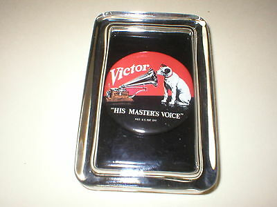 RCA Victor Nipper Radio Phonograph TV Records Advertising Sign Glass Paperweight