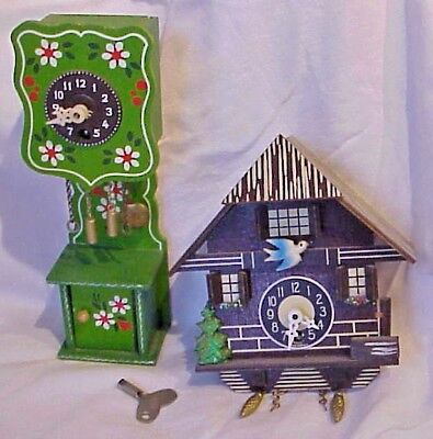 (2)Vintage Sm. Key Wind Up Coo Coo Clock & Decorative Clock with Pendulum