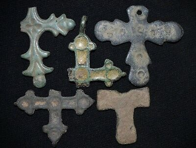 Group of 5 Ancient Viking Bronze Cross. Rare Norse Pendant Amulet, c 950-1000 AD