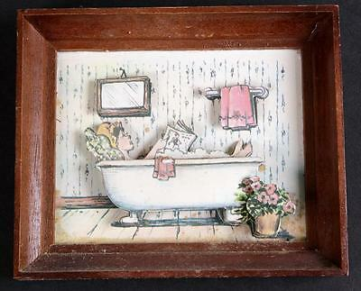 Antique Vintage Wall Hanging 3D Girl in Claw Foot Bathtub Bathroom Decor Color