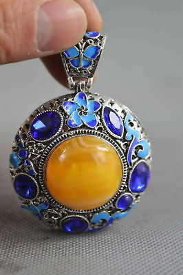 Collectable Decor Miao Silver Cloisonne Carve Flower Inlay Agate Fashion Pendant