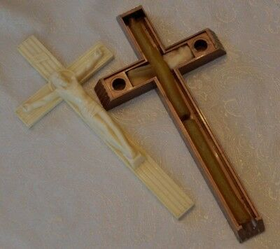 Vintage Catholic Last Rites Extreme Unction Sick Call Crucifix w/ Candles