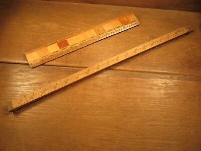 "Vintage 1950`s Sliding 36"" Wood Ruler Stick Advertising SINCLAIR MEDFORD, MASS"