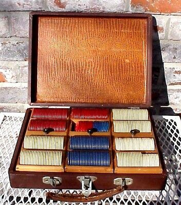 """Vintage Poker Chips w/ Case Approx 310 Chips Stars/Horseshoes/Knights """" READ """""""