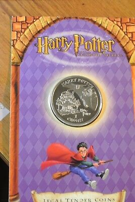 Harry Potter One Crown Coin * 2002 Unc, Sealed On Card * Isle Of Man