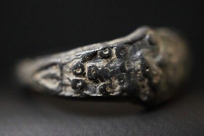 Ancient Viking Bronze Finger Ring, c 950-1000 Ad. Richly Decorated Norse Relic