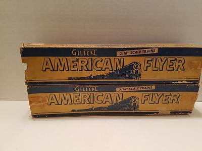 "Pair of Vintage American Flyer 3/16"" Scale Train Boxes - Boxes Only, 15.5"" Long"