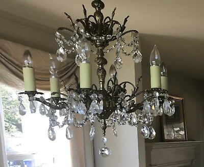 Antique Brass 6 Light Chandelier Vintage