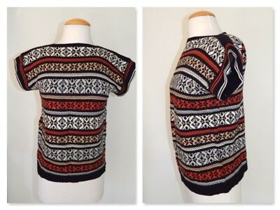 Vintage 70's Sweater THE ADDED TOUCH Fair Isle Knit Cap Sleeve High Neck  M L