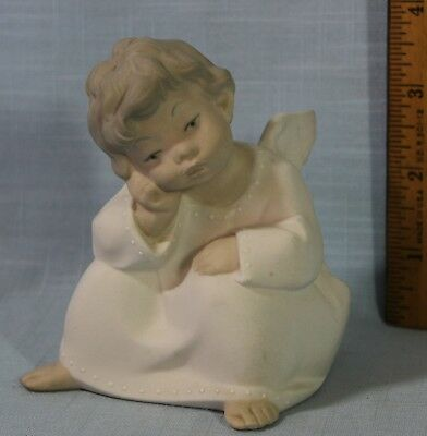 Lladro Retired Angel Thinking Figurine