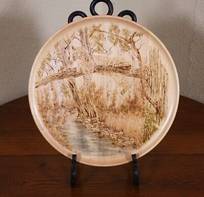 A Wood Burned Pyrography HandColor Art Lynx Cat Woodland Scene Vtg Plate Charger