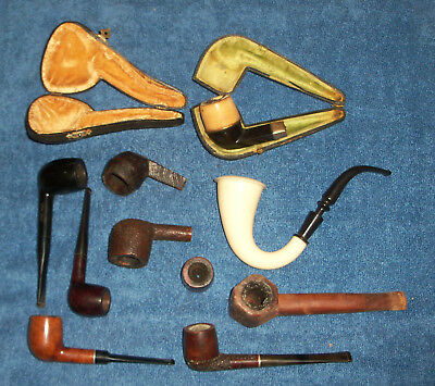 Box Lot Of Old Pipe Items, 5 Pipes, 1 Sccrew-On Bowl, 2 Cases. 3 Bowls, As Is!