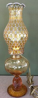 Vintage fostoria amber Coin Glass pattern lamp orig opalescent shade electric