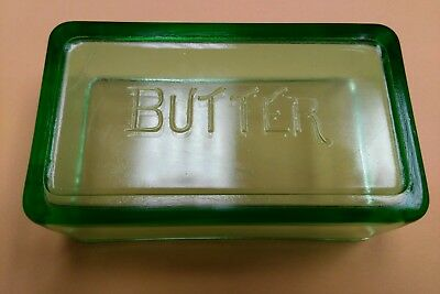 Vintage Green Depression Rectangle Butter Dish Top Lid Only