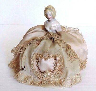 Antique Porcelain German Half Doll Pin Cushion.