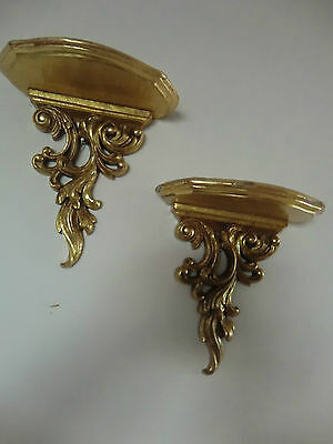 """VINTAGE ,COUPLE SCONCES/WALL SHELVES,PLASTER,GOLD FINISH 7.5""""X 8 ,pre owned"""