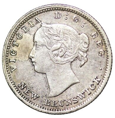 1862 Canada New Brunswick Silver 5 Cents Queen Victoria British KM#7
