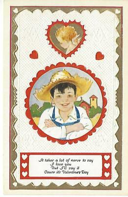 "1930s Vintage Valentine's Day Postcard - ""It takes a lot of nerve to say..."""