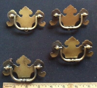 "Lot 4 Vintage Brass Draw Pulls Dresser Handles Mount Holes 2.5"" Apart Off Center"