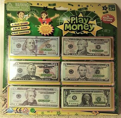 US Play Money $1, $5, $10, $20, $50, & $100. SIZE: 4 ¼ LONG, 1 ¾ WIDE X20 each