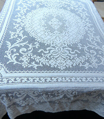 Vintage Cotton Quaker Filet Lace Tablecloth 61x80 Rectangle