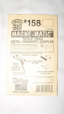 Kadee #158 HO Scale Magne-Matic Scale Whisker Couplers 2-Pair w/Draftgear Boxes