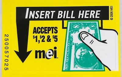 MEI Mars Bill Validator VN-AE Series Soda Bezel Decal Sticker $1, $2 & $5