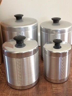 Vintage Mid Century Essex Spun Aluminum 4 pc. Canister Set - Never Used in Box