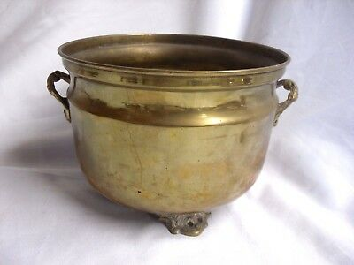 "Antique VINTAGE Decorative INDIAN BRASS Plant POT Holder JARDINIERE Vase 7"" D"