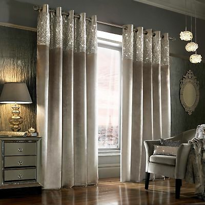 Kylie Minogue ESTA Silver -  Ready Made Eyelet / Ring Top Velvet Lined Curtains
