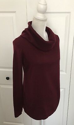 Loft Maternity Cowl Neck Sweater In Red/Burgundy Medium