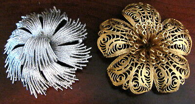 Vintage Jewelry Lot of 2 Large Brooch Pins Signed MONET Silver & Gold Flower
