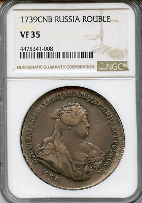 Russia 1739-Cpb Anna Rouble Scarce Date,old Toning Ngc-Vf-35.