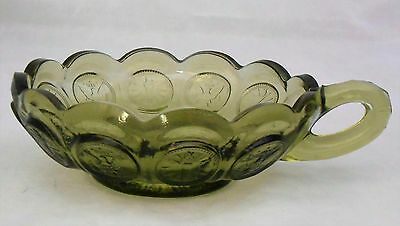 Fostoria Vintage Coin Dot Glass Handled Nappy Dish in Olive Green