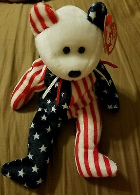 Ty Spangle White Face Bear Beanie Baby 1999 Retired