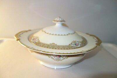 "Meito China ""Annette"" Round Covered Vegetable Casserole Dish"