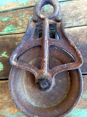 Vintage Antique Cast Iron Pulley Farm, Primitive, Rustic, Rusty