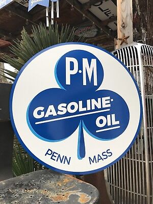 Antique Vintage Old Style P M Gas Oil Sign Penn Mass