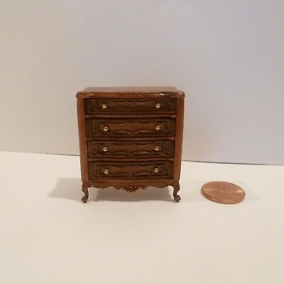 """Miniature 1/2"""" Scale Dresser     4 Drawers That Open      Nwn Finish"""