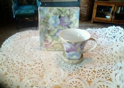 Beautiful Chintz Morning Glory cup and square saucer, Vintage