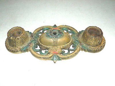 Vtg Antique Art Deco Nouveau Flush Mount Over Head Ceiling Light 2 Bulb Fancy