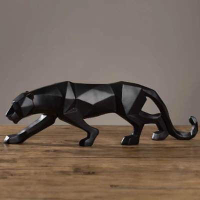 48cm Modern Abstract Black Panther Sculpture Geometric Resin Leopard Statue AA