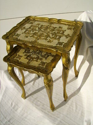 2 hollywood regency florentine italian gold gilt stacking end tables mid century