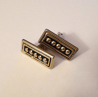 Swank Cufflinks-Vintage-Black and Gold-Raised Dots-Rectangular-Classic