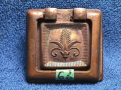 Vintage Solid BRASS Art NOUVEAU Victorian SQUARE Shape Drawer BACKPLATE+PULL(66)