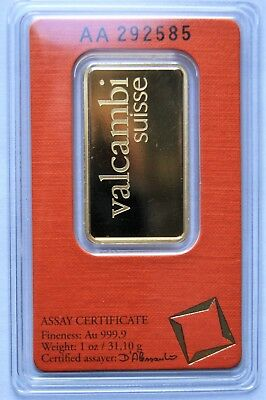 Valcambi Suisse 1 oz .9999 Pure Gold Bar in Assay Certificate AA292585