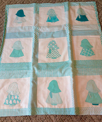 Homemade Handstitched Custom Baby Blanket Overall Bill Quilt Sunbonnet Sue 45x40
